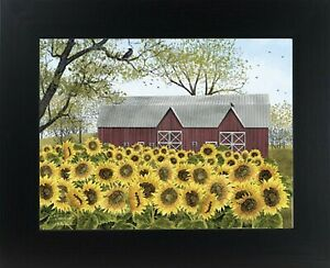 Country Sunshine Sunflowers new Barn Wall Print in Frame