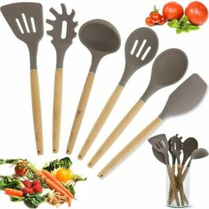 Bamboo Non Stick Silicone Kitchen Utensil Cooking Tools 7 Piece Set with Holder