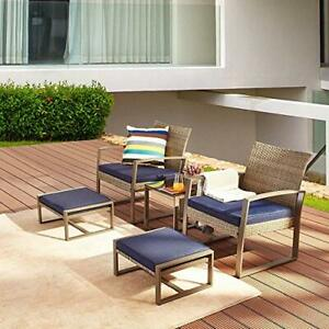 5 Piece Wicker Outdoor Conversation Set Patio Furniture PE Rattan All Weather C