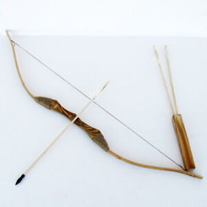 WOODEN BOW AND ARROW w QUIVER set 3 PACK ARROWS wood youth archery hunting toy $23.86