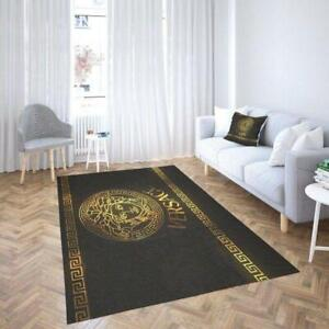 Versace Fashion Brand Gold And Black Living Room Area Carpet Living Room Rugs...