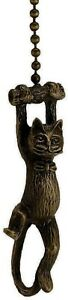 HANGING CAT FAN PULL CHAIN ANTIQUE BRASS