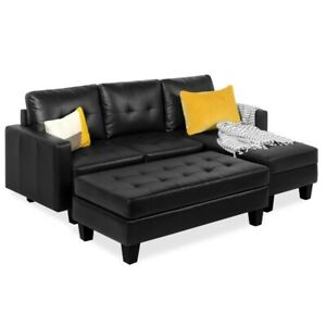 L Shape Modern Modular Customizable Faux Leather Sofa Set w Ottoman Bench
