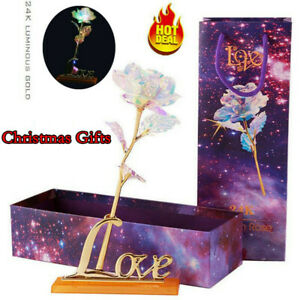 Xmas Gifts Galaxy Crystal Rose With Love Base Is The Best Choice For Your Lover