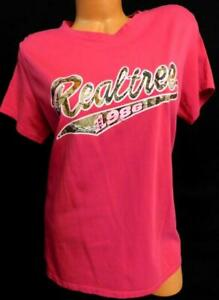 Women#x27;s plus size magenta pink realtree est. 1986 brown camouflage tee top XL