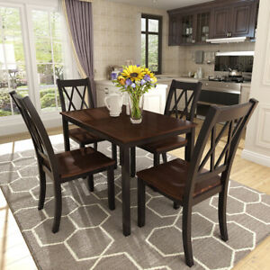5 Piece Dining Table Set4 Chairs Solid Wood Room Kitchen Sets BlackCherry