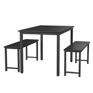 3 Piece Dining Table Sets Metal Benches Farmhouse Kitchen Dining Room Furniture