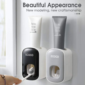 Automatic Toothpaste Dispenser Toothbrush Stand Wall Mounted Bathroom Home US $10.99