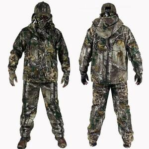 Mens Outdoor Bionic Camouflage Hunting Clothes Green Jacket Pants Hat suit Retro