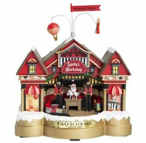 FAO SCHWARZ Holiday LED Light Up Moving Classic Musical Santas Workshop New $44.99