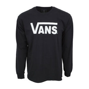 VANS MENS LONG SLEEVES BLACK LOGO T SHIRT $13.25