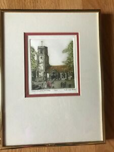 quot;Grave Tenderquot; Etching by Victoria Elbroch Original Framed and Signed $50.00