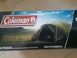 NEW Coleman Camping Dark Room 6 Person Fast Pitch Dome Tent w Weathertec System