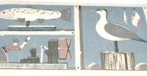 WALLPAPER BORDER Duck Decoy Fish Lucky Lures Den Lodge Fishing Blue dho8559