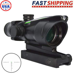 Tactical Rifle 4x32 True Fiber Red Illuminated Optic Scope Hunting with Mount