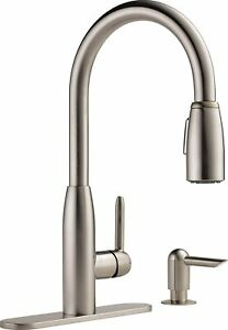 Peerless Single Handle Kitchen Sink Faucet with Pull Sprayer and Soap Dispenser $59.99