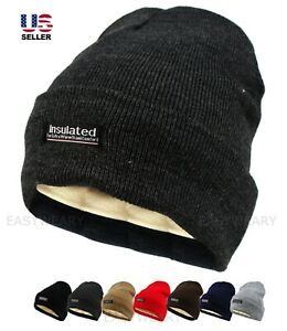 Mens Womens Winter Thermal Fleece Lined Insulated Knit Beanie Hat Cuff Cap Ski $6.95