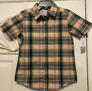 NEW CARTERS Boys Pink Olive Multi Plaid Checkered Button Up Shirt Size 8 $5.50