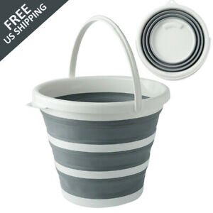 Collapsible Folding Bucket Silicone Kitchen Camping Garden Water Carrier $18.88