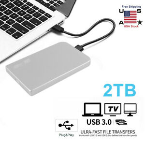 2TB USB 3.0 Portable 2.5quot; External Hard Drive Disk Ultra Slim For Laptop Windows