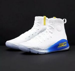 NIB Under Armour Curry 4 Men Basketball Shoes White and Blue Size 17 Free Ship $89.99