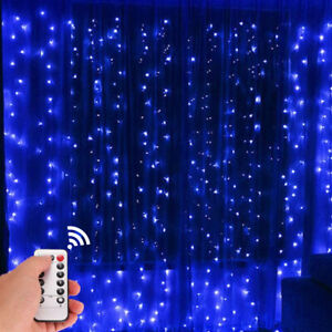 300LED 10ft Curtain Fairy Hanging String Lights Wedding Bedroom Home Decor USA $13.99
