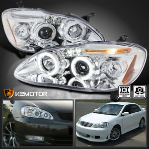 For 2003 2008 Toyota Corolla LED Halo Projector Headlights Lamp LeftRight 03 08 $159.38