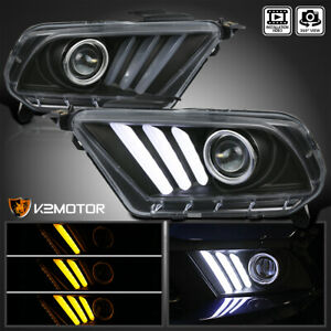 Fits 2010 2014 Ford Mustang Black Projector Headlights Sequential LED Signal DRL $301.38
