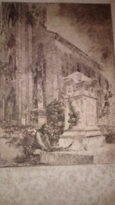 ORIGINAL SIGNED NUMBERED 1926 TOMB OF EDGAR ALLAN POE ETCHING WESTMINSTER CHURCH $40.00