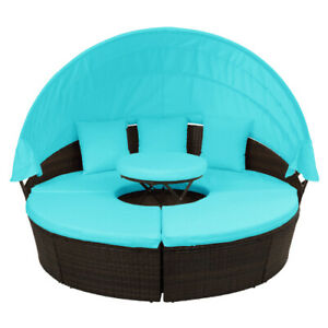 Detachable Patio Furniture Round Outdoor Rattan Sectional Sofa Set w Canopy $665.99