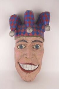 Chainsaw Wood Sculpture Smiling Jester Huge 21quot; Art Head Signed Barre Pinske $850.00