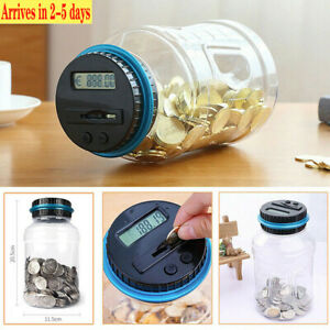 LCD Counting Money Clear Digital Piggy Bank Coin Savings Counter Jar Change Gift $12.99