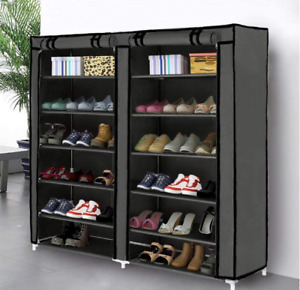 6 Tier Shoe Rack Storage Organizer Cabinet Tower w Non Woven Fabric Cover Grey $35.99