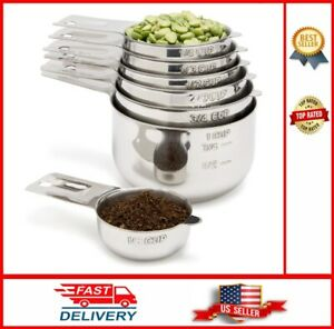 Stainless Steel Measuring Cups 7 Piece with 1 8 Cup Coffee Scoop Stainless Steel $32.50