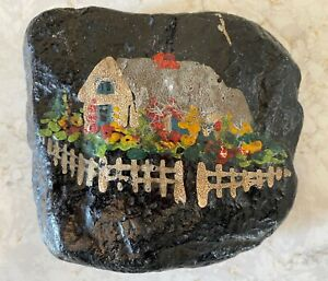 Antique Signed Folk Art Oil Painting of Irish Cottage on Stone Circa 1900 $65.00