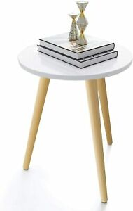 Haton Side Table Round White Modern Home Decor Coffee Tea End Table for Living $42.89