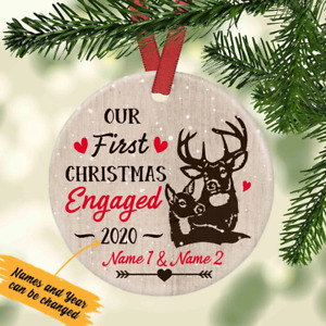 Custom Our First Christmas Engaged Deers Couple Gift Christmas Ceramic Ornament $10.99