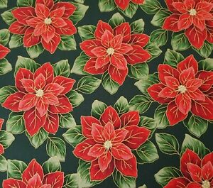 Yuletide Poinsettia Print BTY VIP Christmas Red Floral on Hunter Green $8.99