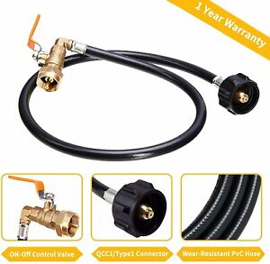 Propane Refill Adapter Hose350PSI High Pressure Camping Grill QCC1 Type 35.5""