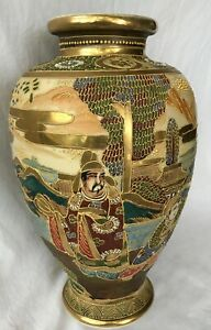 Antique Japanese Satsuma Moriage 12 Vase Meiji Immortal Child Musician Gold