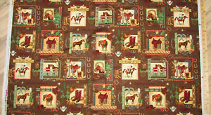Back in the Saddle Western Ranch Cowboy Square Fabric Panel 23quot; #35609 $6.79