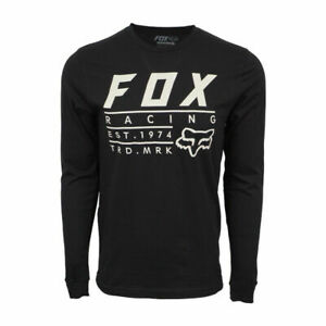 FOX RACING MENS L S ESTABLISHED T SHIRT BLACK $14.50