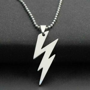 New STAINLESS STEEL LIGHTNING BOLT NECKLACE 316L Metal Pendant Ball Chain $6.48