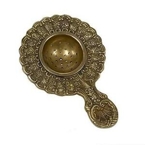 Antique Vintage Style Brass Loose Leaf Tea Strainer Infuser Victorian Handle $18.25