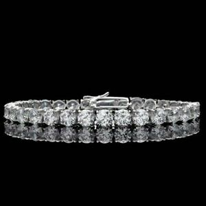14K White Gold Plated 6Ct Round Brilliant Diamond Tennis Bracelet Silver 925