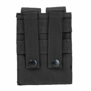 Military Tactical Molle Double 9mm Pistol Mag Magazine Pouch Close Holster Bag