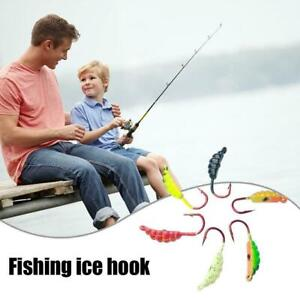 6pcs Fishing Hook Ice Lures Bait Lead Head Jig Winter Tackle Resistant T7D1