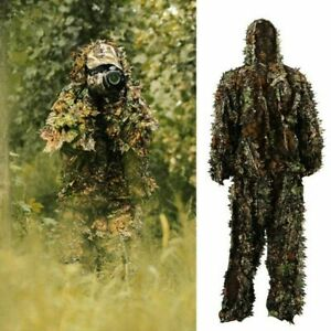 Mens Hunting Clothes Camouflage 3D Leafy Hooded Jacket Pants Camo Ghillie Suit