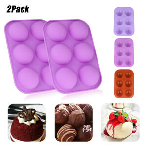 6 Cavity Silicone Cake Mold Hot Chocolate Bombs Mould 2quot; Half Ball Sphere 2PACK $8.75
