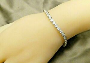 14K White Gold Plated 5Ct Round Diamond Tennis Bracelet Silver 925 Bezel setting